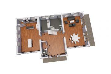 Bergsholmen XL - Planlösning 3D, Våning 1