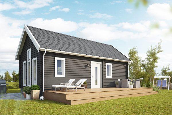 Timmerhus byggsats Lindliden XXS från Jörnträhus - husbyggsats - Ett timrat fritidshus – en husmodell som uppfyller samtliga minimumkrav gällande ytor och utrustning för två personer