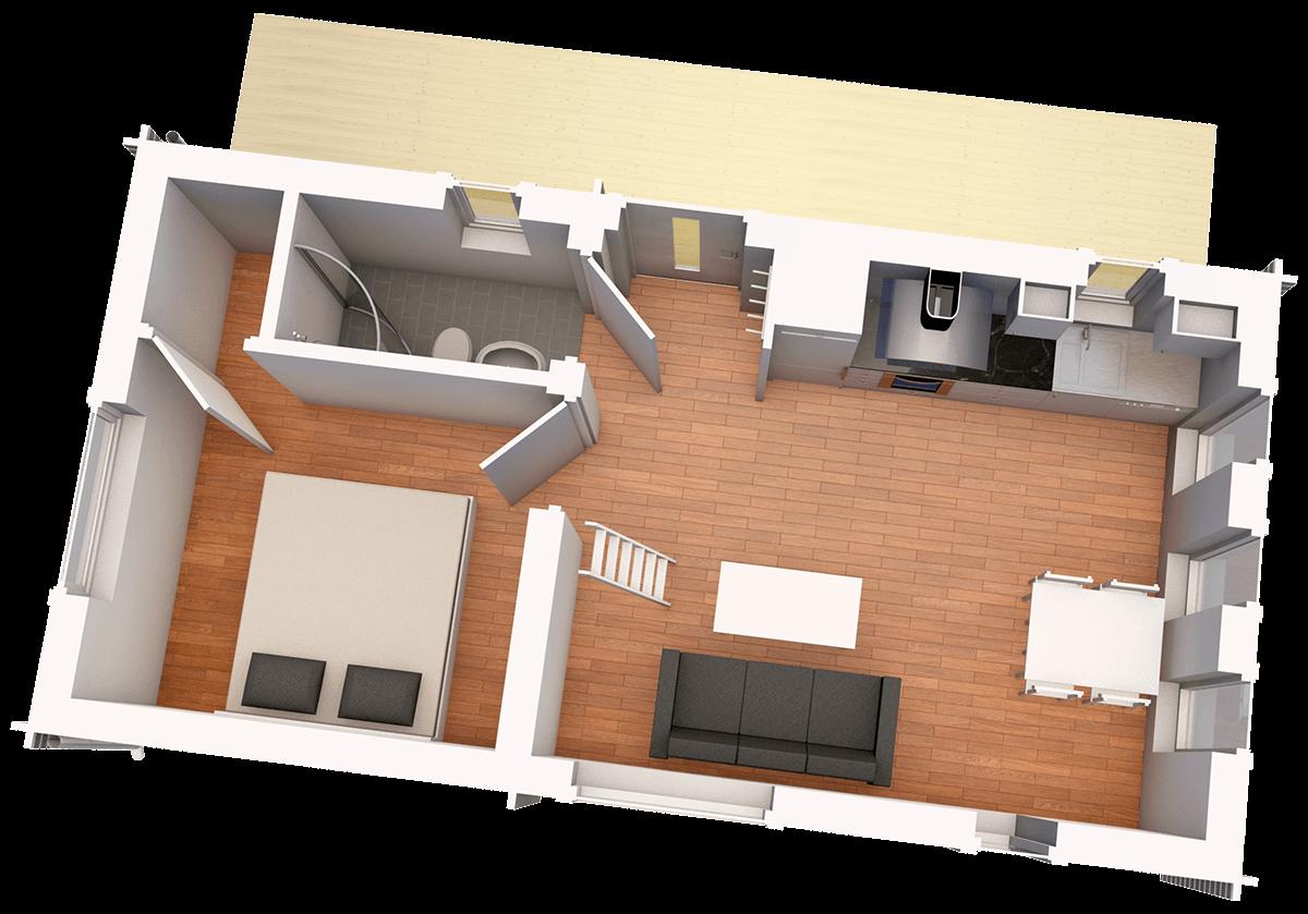 Planritning Timmerhus byggsats Lindliden XXS från Jörnträhus - husbyggsats - Ett timrat fritidshus – en husmodell som uppfyller samtliga minimumkrav gällande ytor och utrustning för två personer