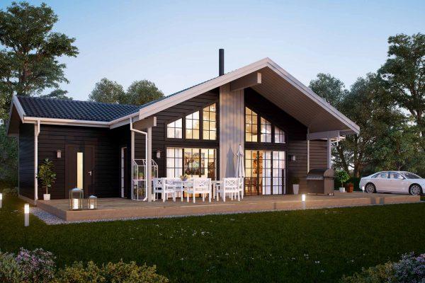 Strycksele L - fritidshus i byggsats från Jörnträhus. Husbyggsats / husmodell som passar till fritidshus, villa, sommarhus, fjällstuga, stuga