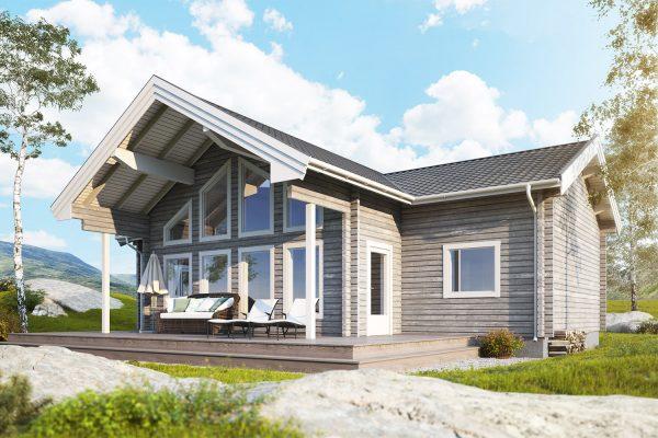 Fura timmerhus - fritidshus i byggsats från Jörnträhus. Husbyggsats / husmodell som passar M till fritidshus, villa, sommarhus, fjällstuga, stuga