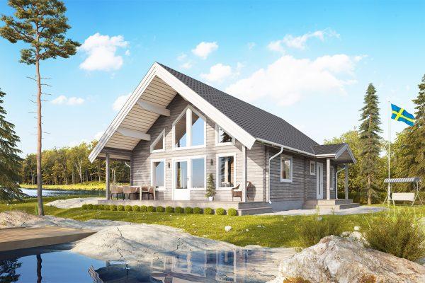 Talltoppen M - fritidshus i byggsats från Jörnträhus. Husbyggsats / husmodell som passar till fritidshus, villa, sommarhus, fjällstuga, stuga