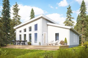 Trend M timmerhus - fritidshus i byggsats från Jörnträhus. Husbyggsats / husmodell som passar till fritidshus, villa, sommarhus, fjällstuga, stuga