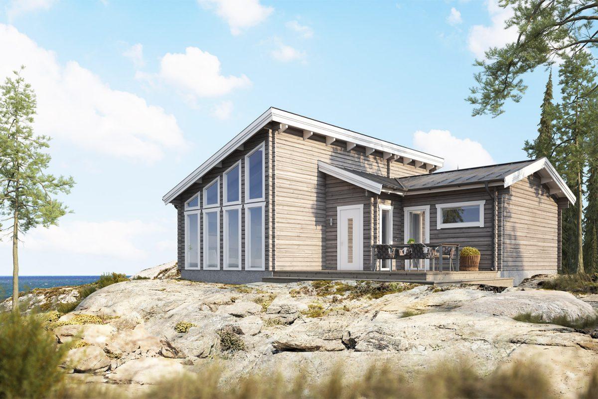 Trend S timmerhus - fritidshus i byggsats från Jörnträhus. Husbyggsats / husmodell som passar till fritidshus, villa, sommarhus, fjällstuga, stuga