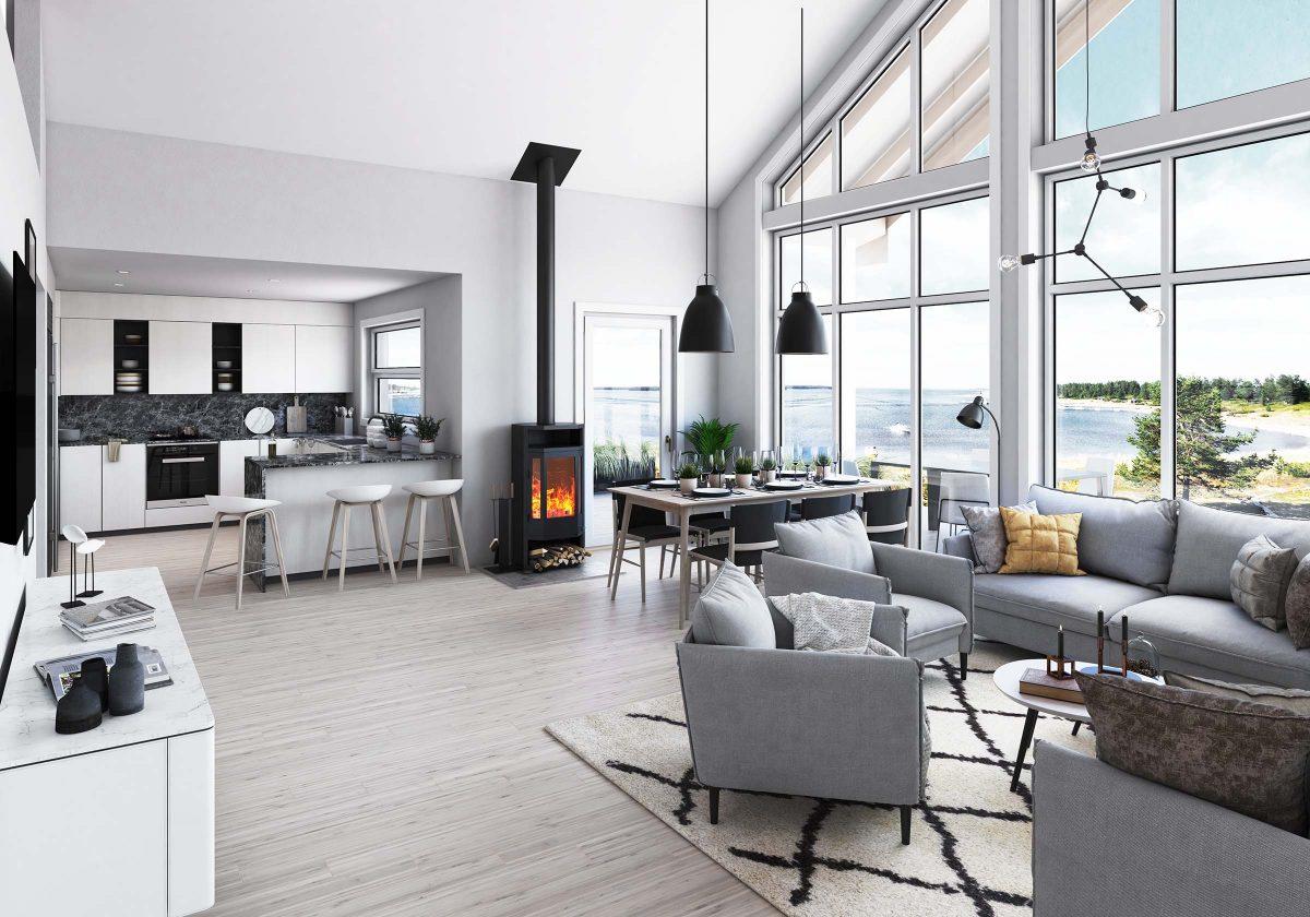 Björkdal L - interiör - Jörnträhus - byggsats hus / fritidshus / villa