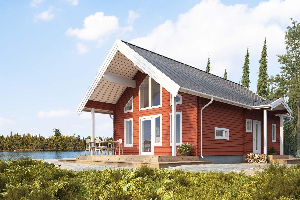 Talltoppen S - fritidshus i byggsats från Jörnträhus. Husbyggsats / husmodell som passar till fritidshus, villa, sommarhus, fjällstuga, stuga