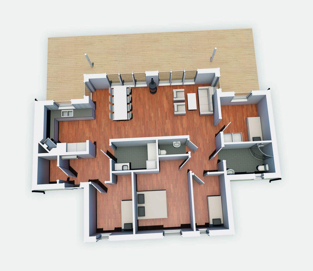 Strycksele XL 3D Plan 1 Fritidshus Byggsats Hus från Jörnträhus platta
